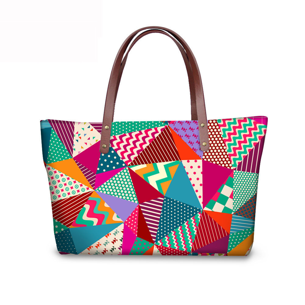PhoRock Women Large Tote Bag 3D Rhombus Pattern Printed Handbag NKB3D028 5