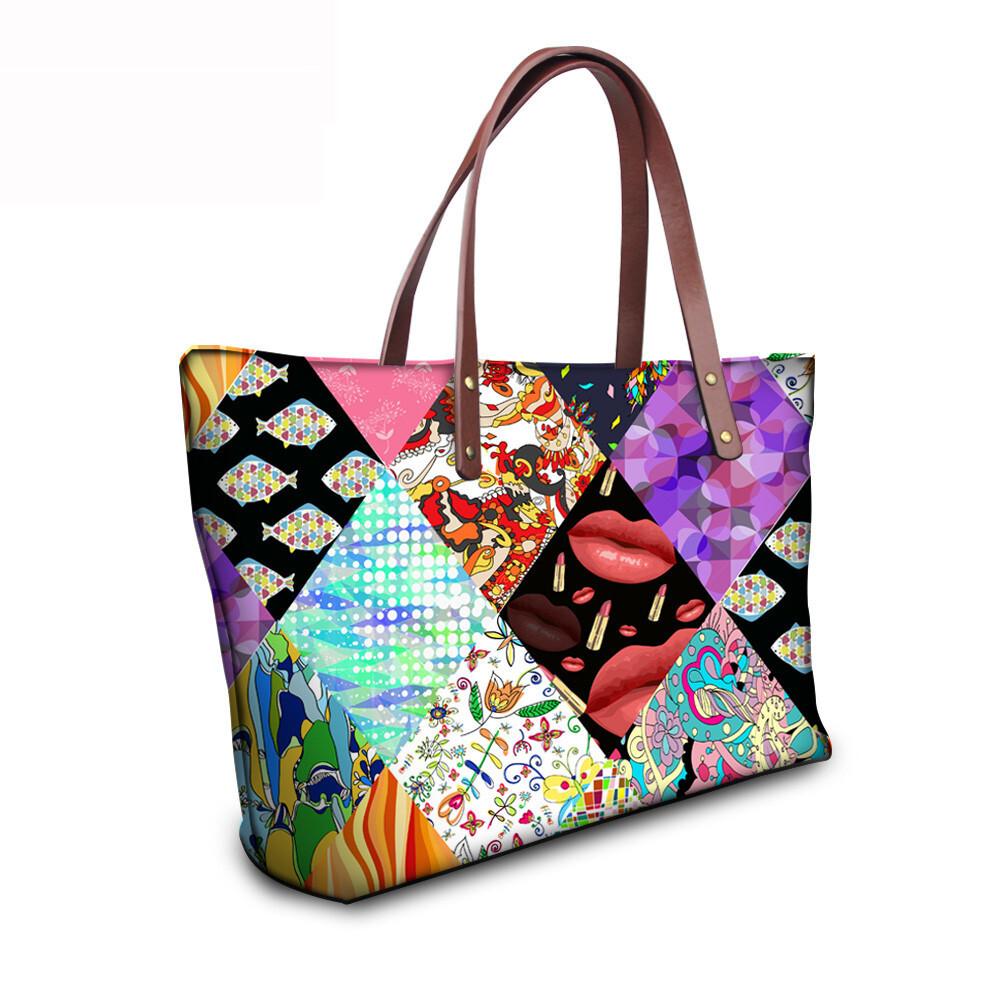 PhoRock Women Large Tote Bag 3D Rhombus Pattern Printed Handbag NKB3D028 9
