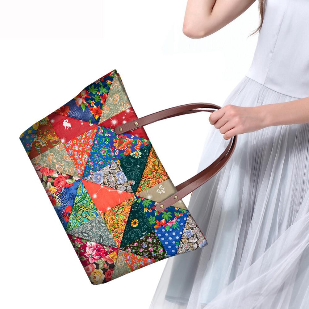 PhoRock Women Large Tote Bag 3D Rhombus Pattern Printed Handbag NKB3D028 11