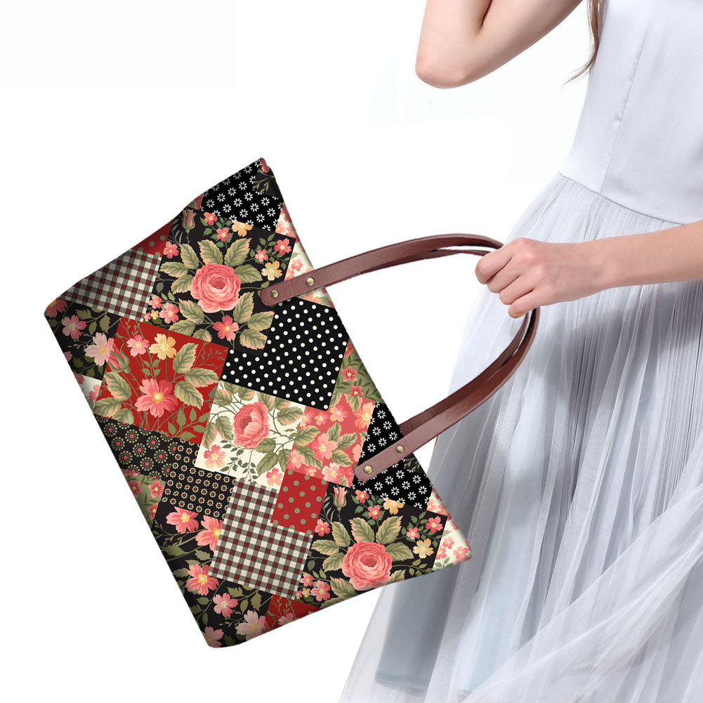 PhoRock Women Large Tote Bag 3D Rhombus Pattern Printed Handbag NKB3D028 12