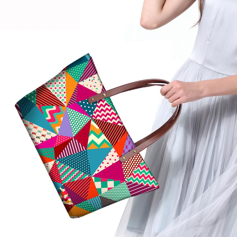 PhoRock Women Large Tote Bag 3D Rhombus Pattern Printed Handbag NKB3D028 14