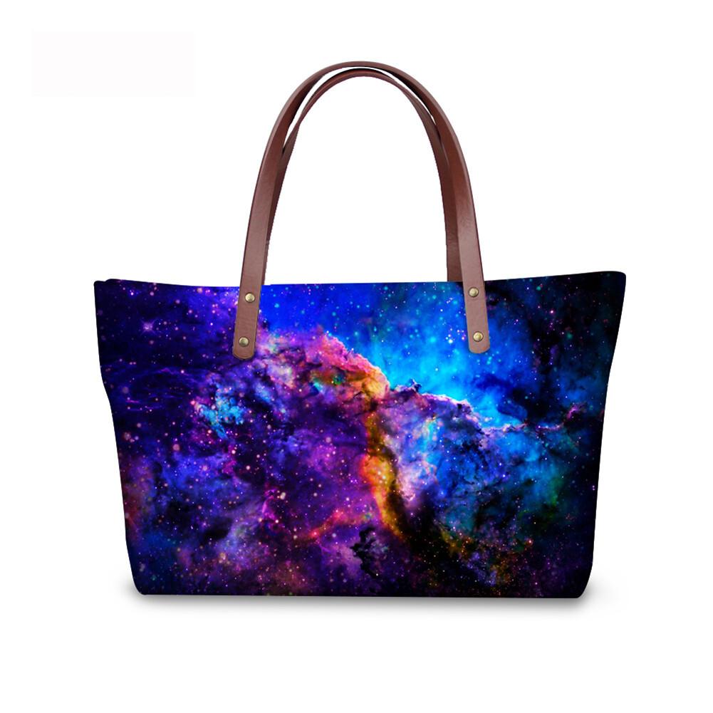 PhoRock Women Large Tote Bag  3D Star Sky Printed Handbag NKB3D004 3