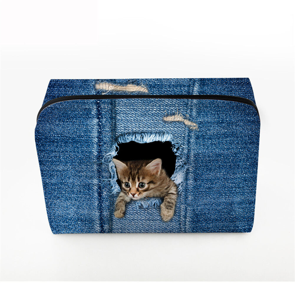PhoRock Women Cosmetic Bag 3D Cat Hidden in the Jean Printed Handbag HZB3D011 0