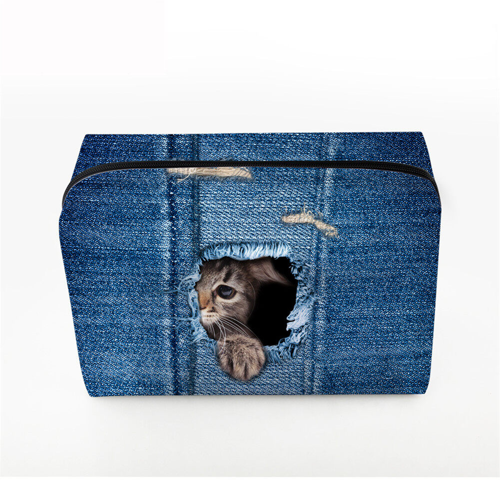 PhoRock Women Cosmetic Bag 3D Cat Hidden in the Jean Printed Handbag HZB3D011 1
