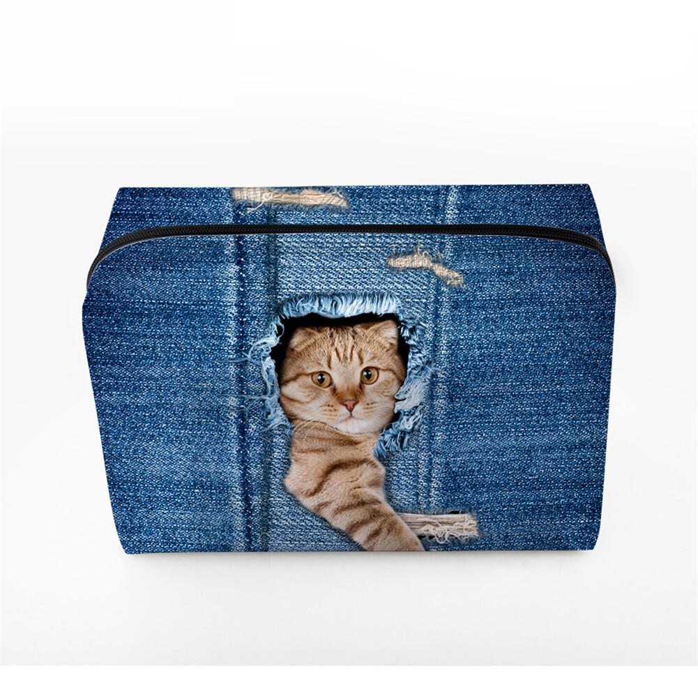 PhoRock Women Cosmetic Bag 3D Cat Hidden in the Jean Printed Handbag HZB3D011 2
