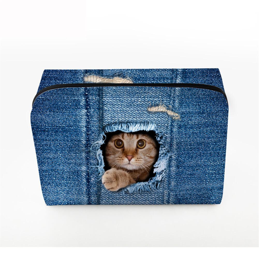PhoRock Women Cosmetic Bag 3D Cat Hidden in the Jean Printed Handbag HZB3D011 3