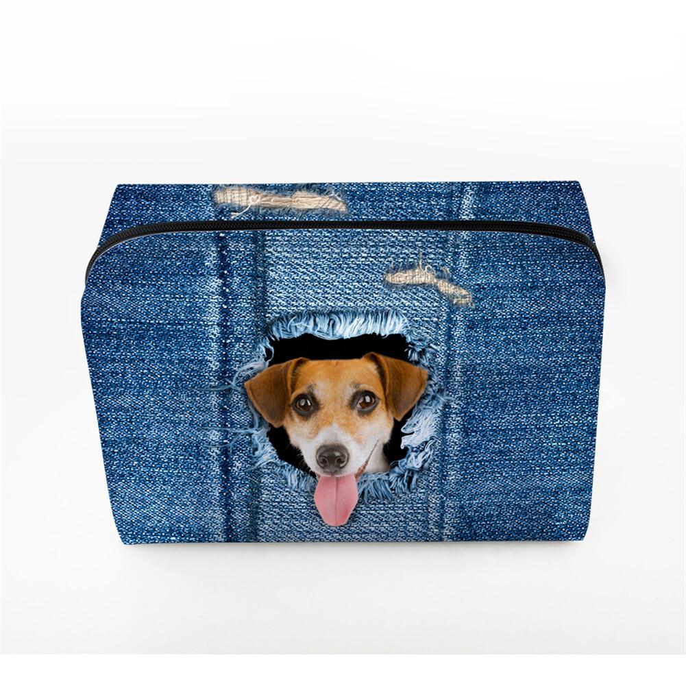 PhoRock Women Cosmetic Bag 3D Cat Hidden in the Jean Printed Handbag HZB3D011 4