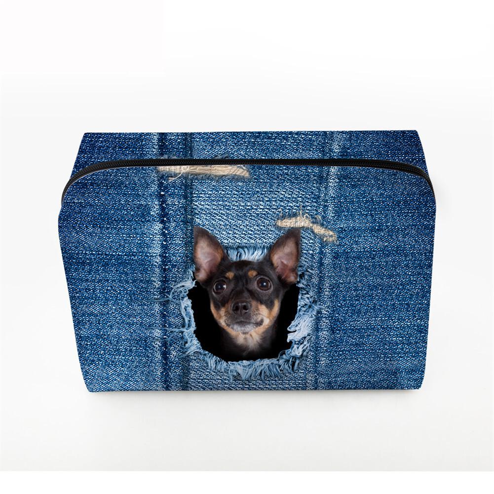 PhoRock Women Cosmetic Bag 3D Cat Hidden in the Jean Printed Handbag HZB3D011 5