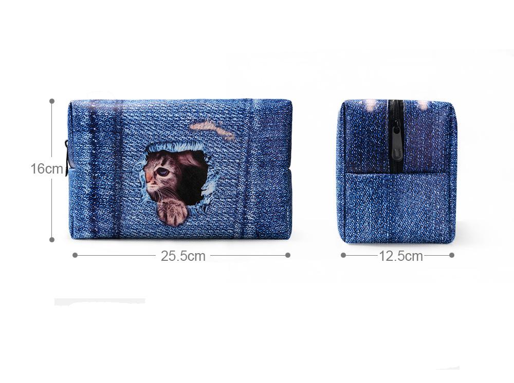 PhoRock Women Cosmetic Bag 3D Cat Hidden in the Jean Printed Handbag HZB3D011 6