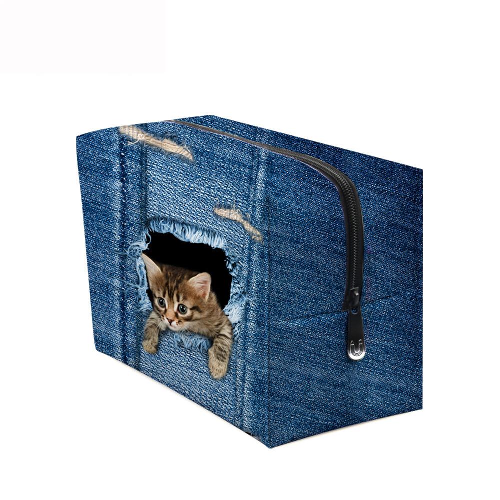 PhoRock Women Cosmetic Bag 3D Cat Hidden in the Jean Printed Handbag HZB3D011 7