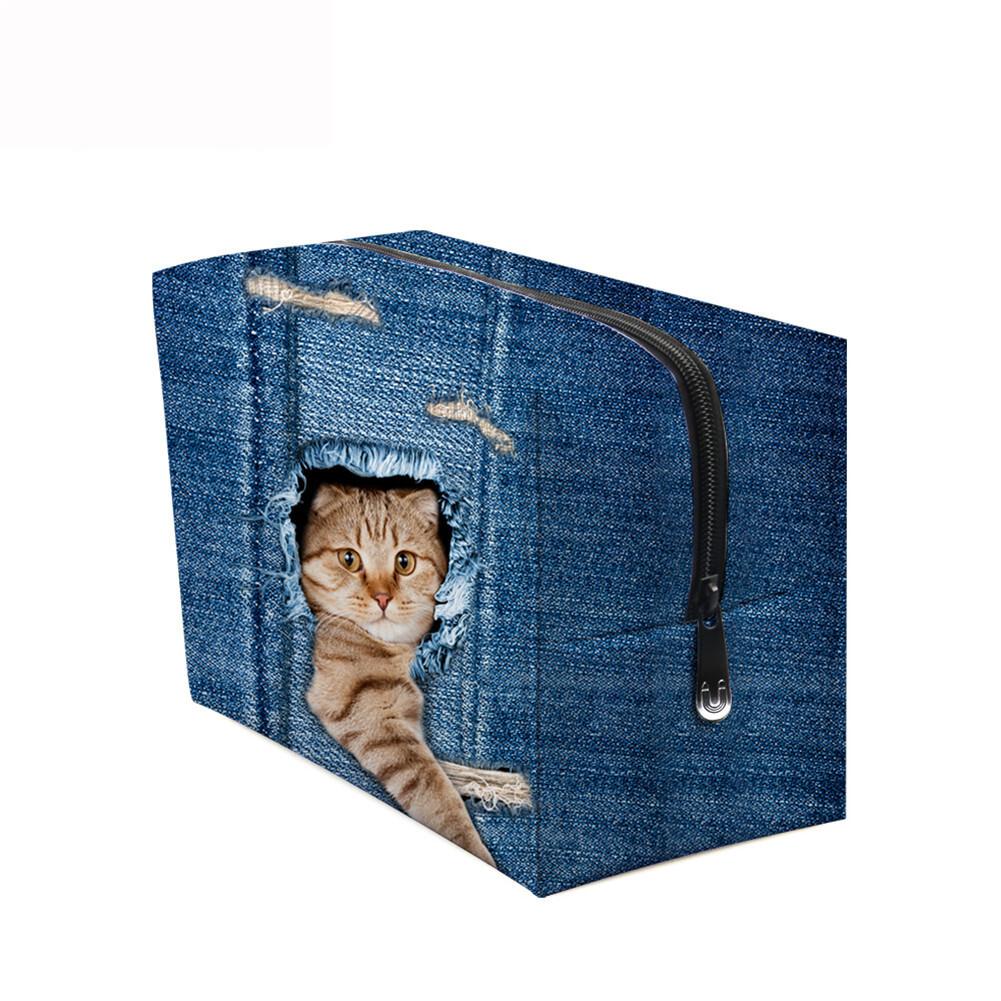 PhoRock Women Cosmetic Bag 3D Cat Hidden in the Jean Printed Handbag HZB3D011 9