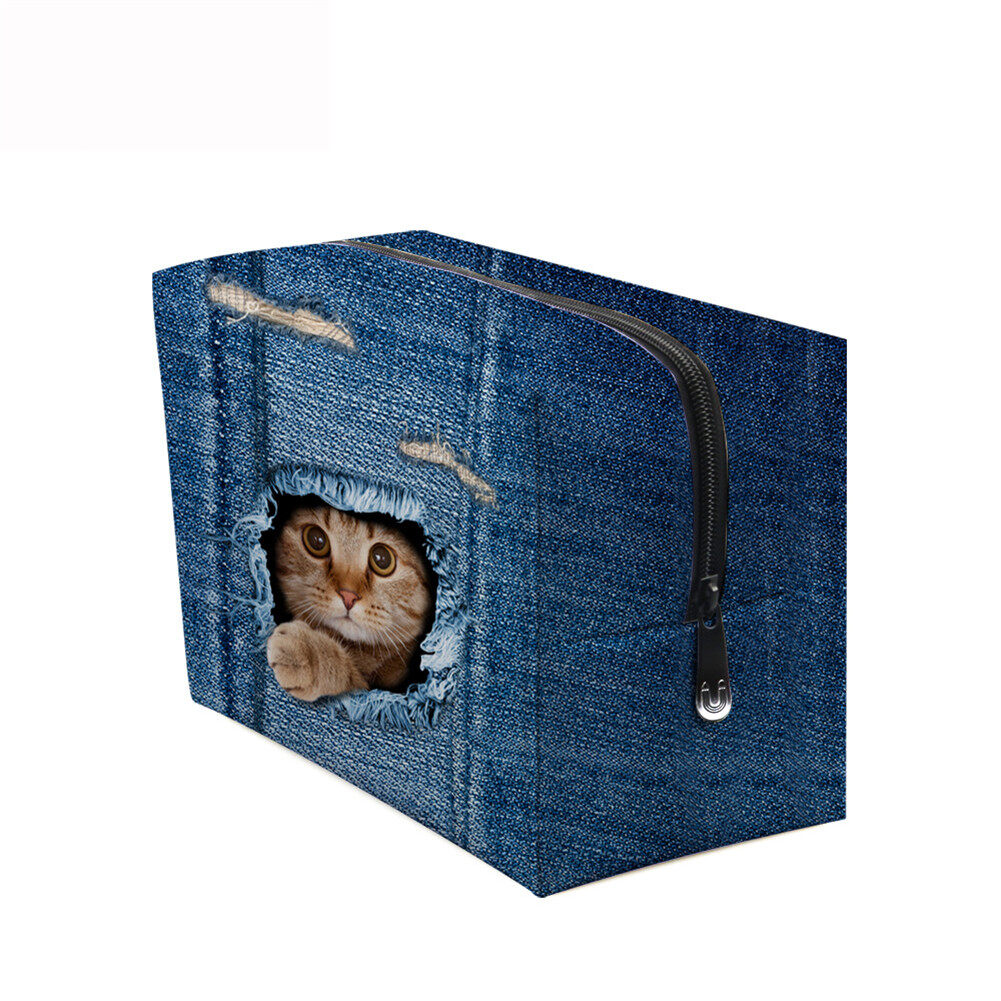 PhoRock Women Cosmetic Bag 3D Cat Hidden in the Jean Printed Handbag HZB3D011 10
