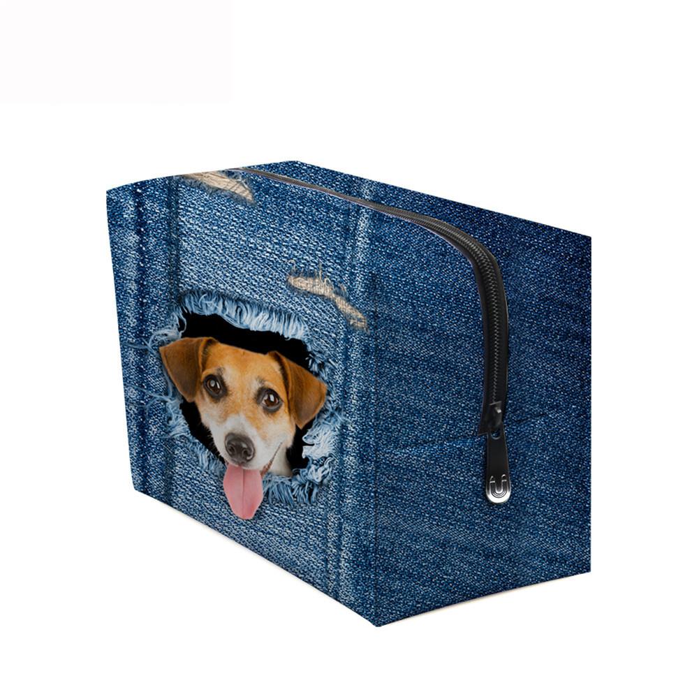PhoRock Women Cosmetic Bag 3D Cat Hidden in the Jean Printed Handbag HZB3D011 11