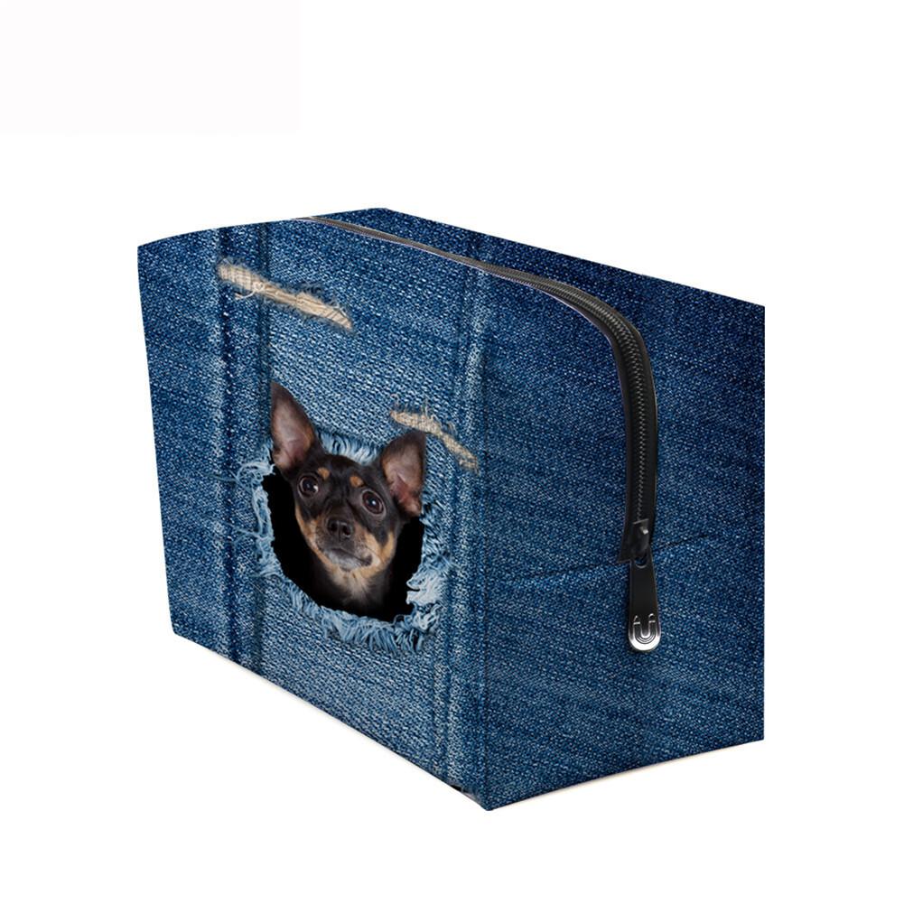 PhoRock Women Cosmetic Bag 3D Cat Hidden in the Jean Printed Handbag HZB3D011 12