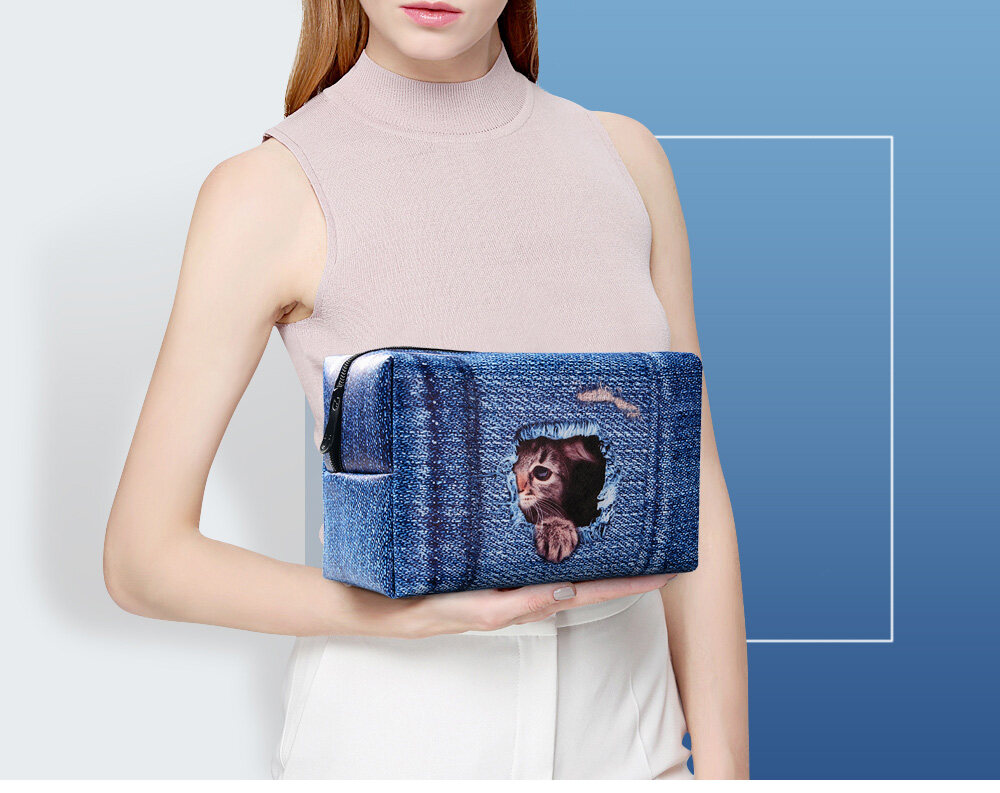 PhoRock Women Cosmetic Bag 3D Cat Hidden in the Jean Printed Handbag HZB3D011 16