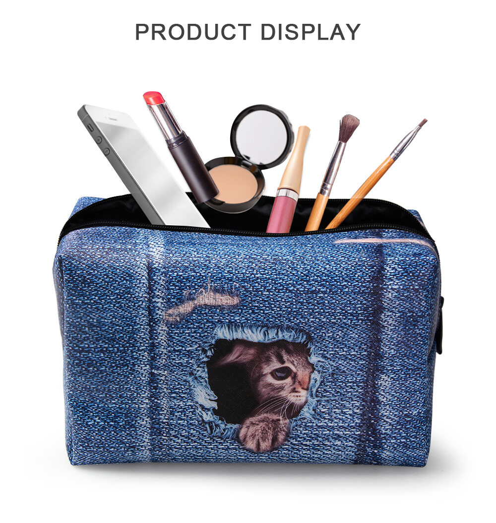 PhoRock Women Cosmetic Bag 3D Cat Hidden in the Jean Printed Handbag HZB3D011 17