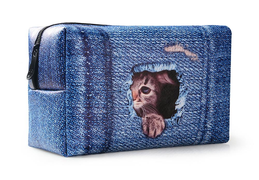 PhoRock Women Cosmetic Bag 3D Cat Hidden in the Jean Printed Handbag HZB3D011 18