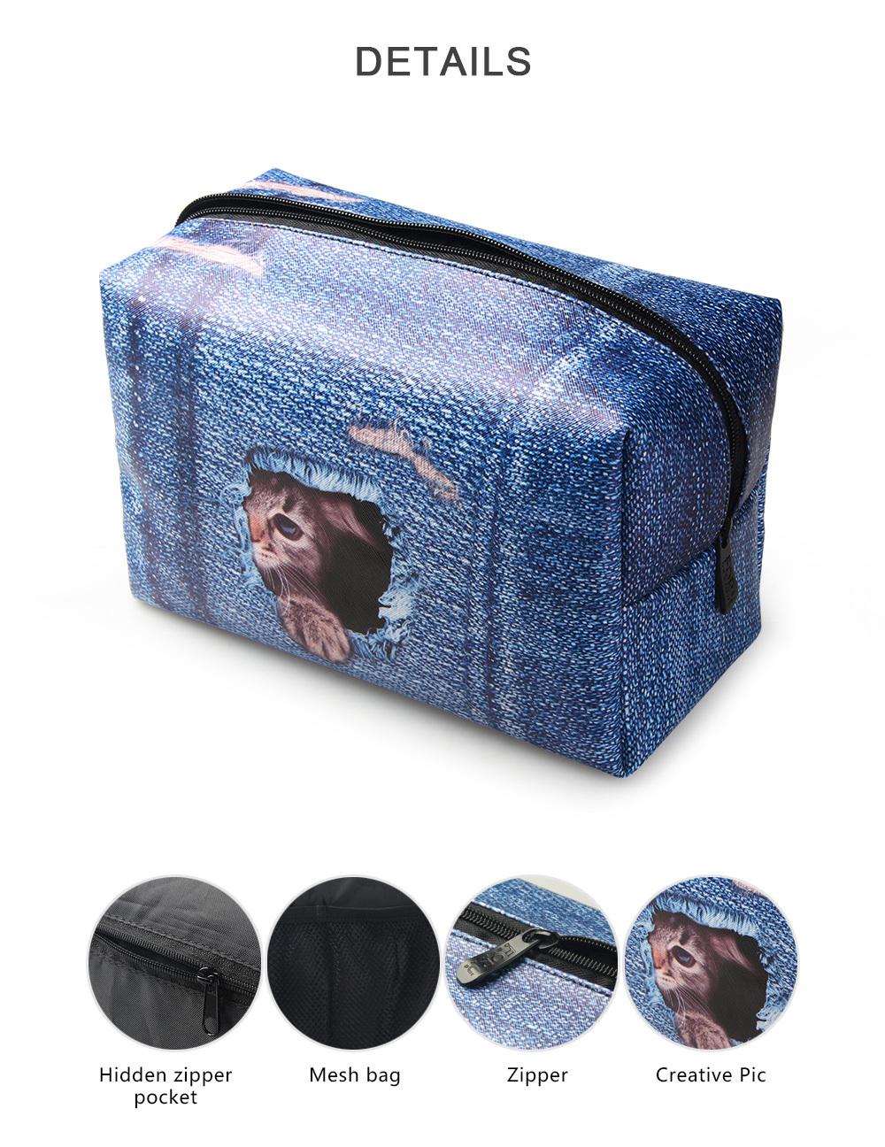 PhoRock Women Cosmetic Bag 3D Cat Hidden in the Jean Printed Handbag HZB3D011 20