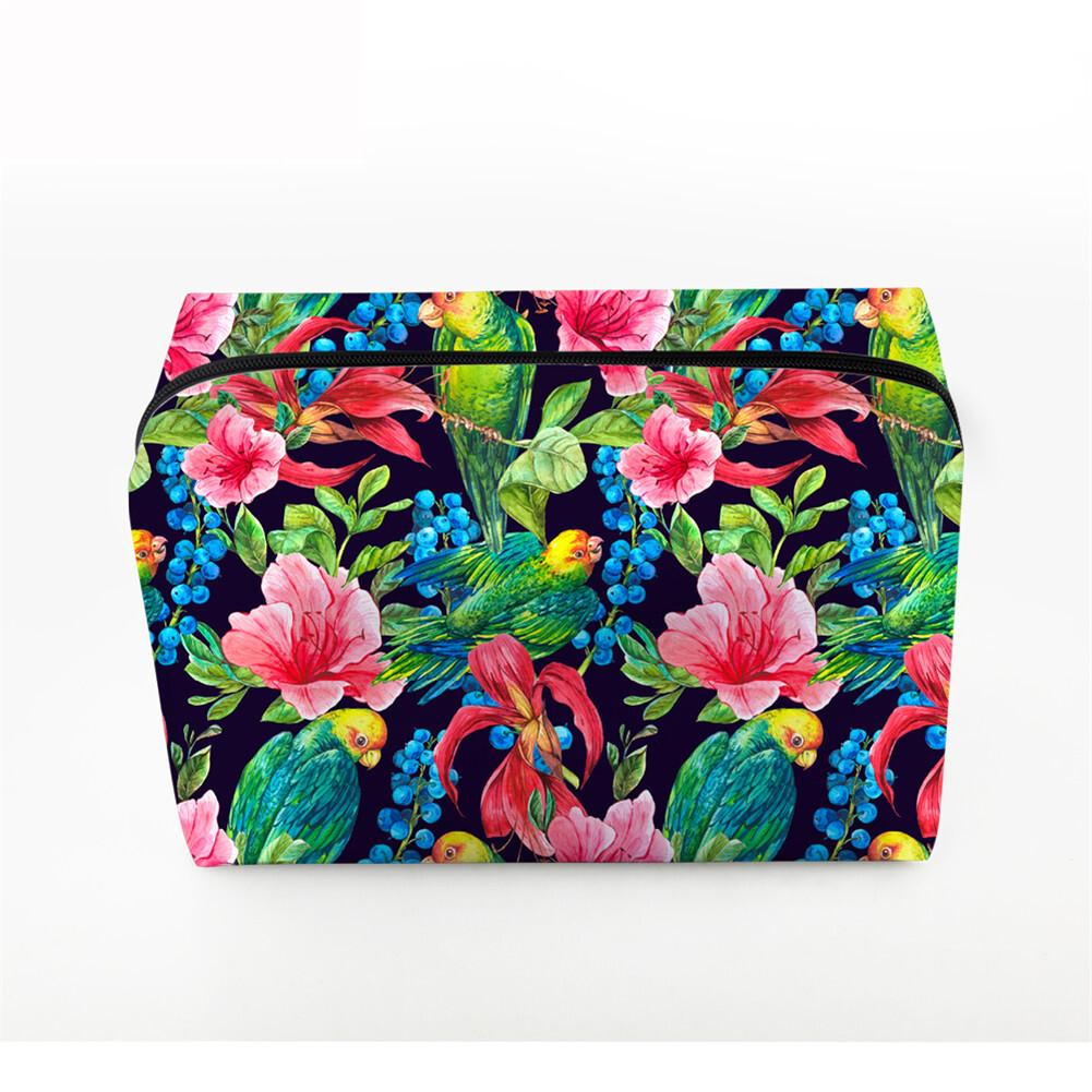 PhoRock Women Cosmetic Bag 3D Flowers and Birds Printed Handbag HZB3D022 3