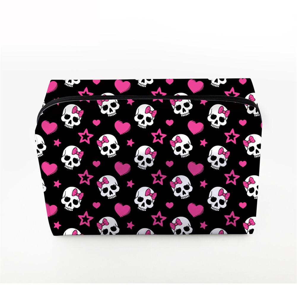 PhoRock Women Cosmetic Bag 3D Skull Printed Handbag HZB3D005 0
