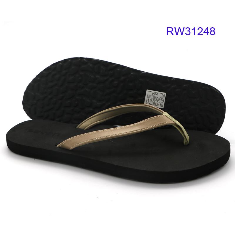 Womens Flat Black Flip Flops-4581