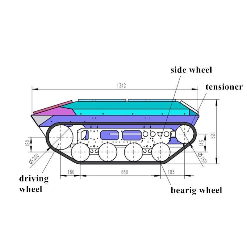 1.35米靶车履带底盘尺寸1