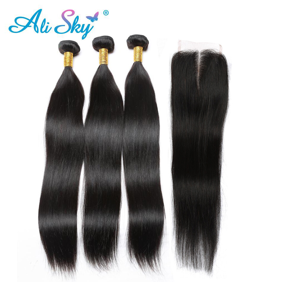8a Natural Color Brazilian Straight Hair 3 Bundles With Closure 100