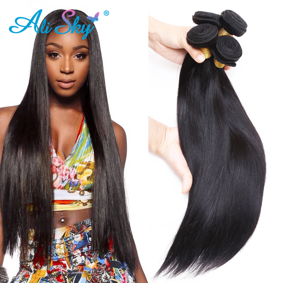 Peruvian Virgin Hair Straight 3pcslot Ali Sky Hair Weave Straight