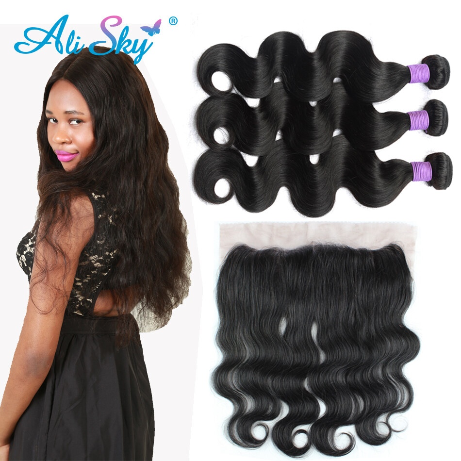 3 Bundles Peruvian Virgin Hair Body Wave With Lace Frontal Closure
