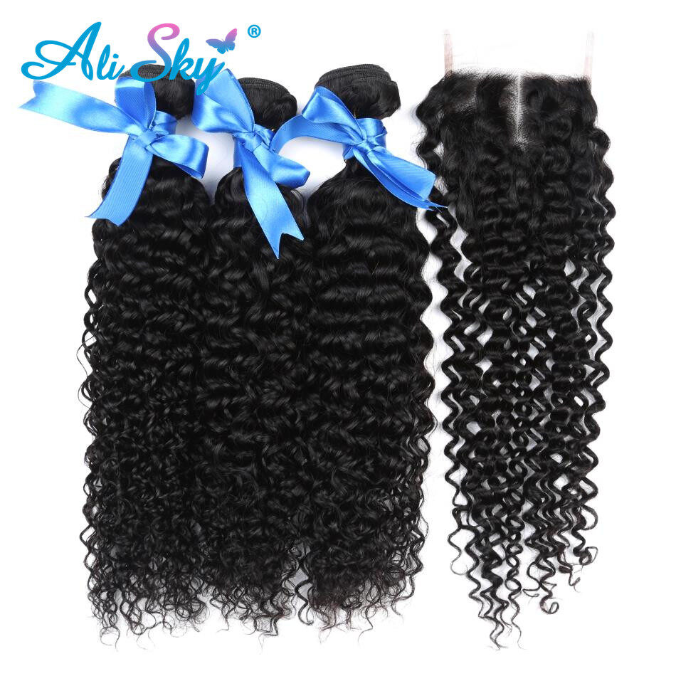 Brazilian Hair Weave Bundles Kinky Curly Hair Weft With Lace Closure