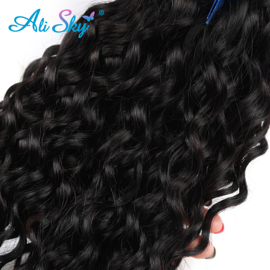 Water Wave Virgin Indian Curly Hair Human Hair Weave Weft 3 Bundles