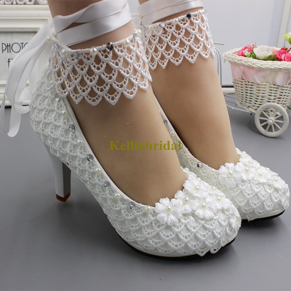 Modern Fashion Lace High Heel Bridal Shoes 0