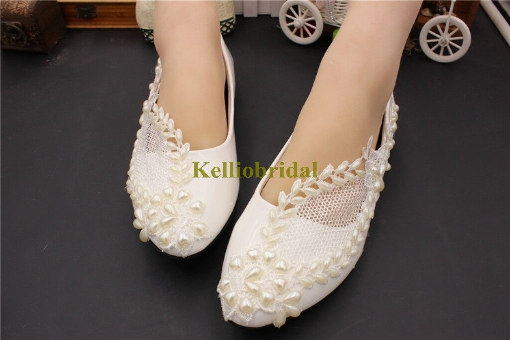 Beautiful Flat Wedding Shoes with Pearls and Lace 2