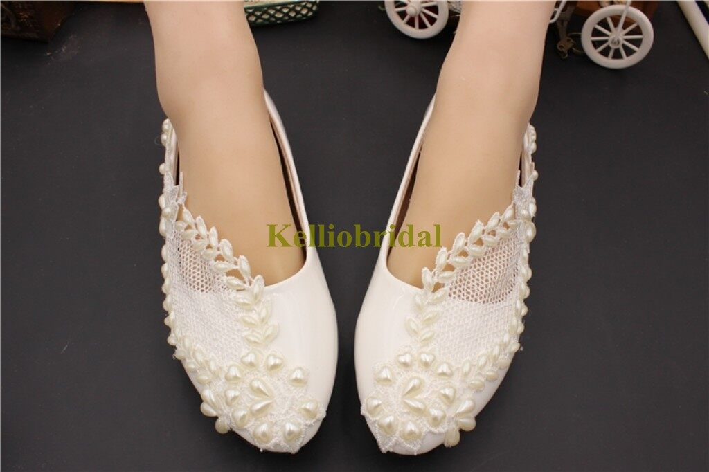 Beautiful Flat Wedding Shoes with Pearls and Lace 1