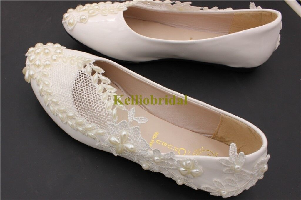 Beautiful Flat Wedding Shoes with Pearls and Lace 4