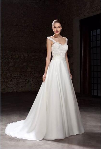 Elegant Style Cap Sleeve Aline Bridal Dress For Wedding 0