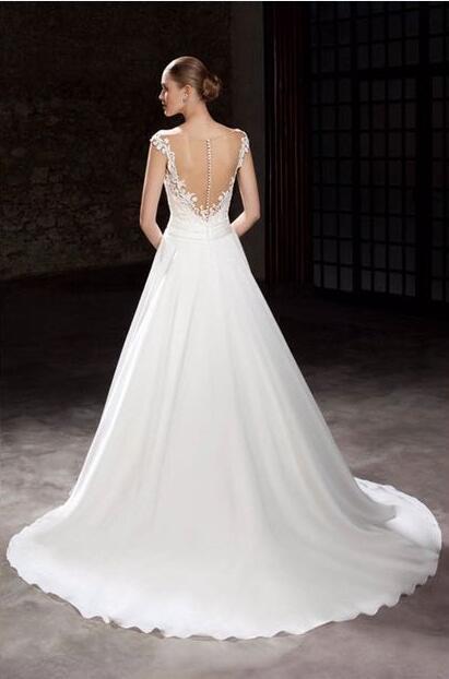 Elegant Style Cap Sleeve Aline Bridal Dress For Wedding 2
