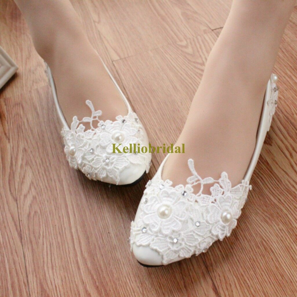 New Styles Lace Pearls Bridal Flat Shoes 0