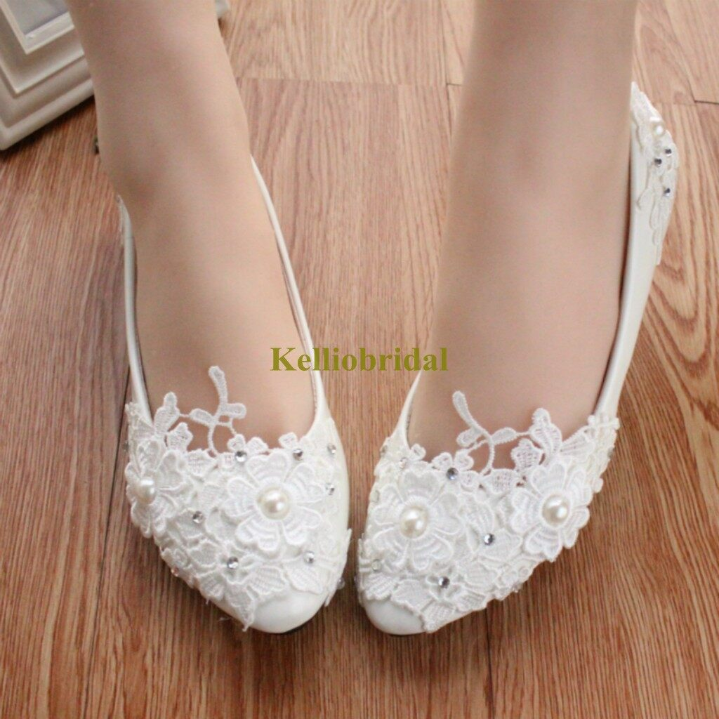 New Styles Lace Pearls Bridal Flat Shoes 1