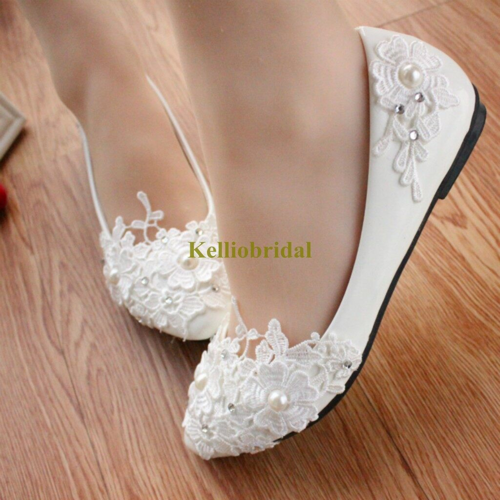 New Styles Lace Pearls Bridal Flat Shoes 2