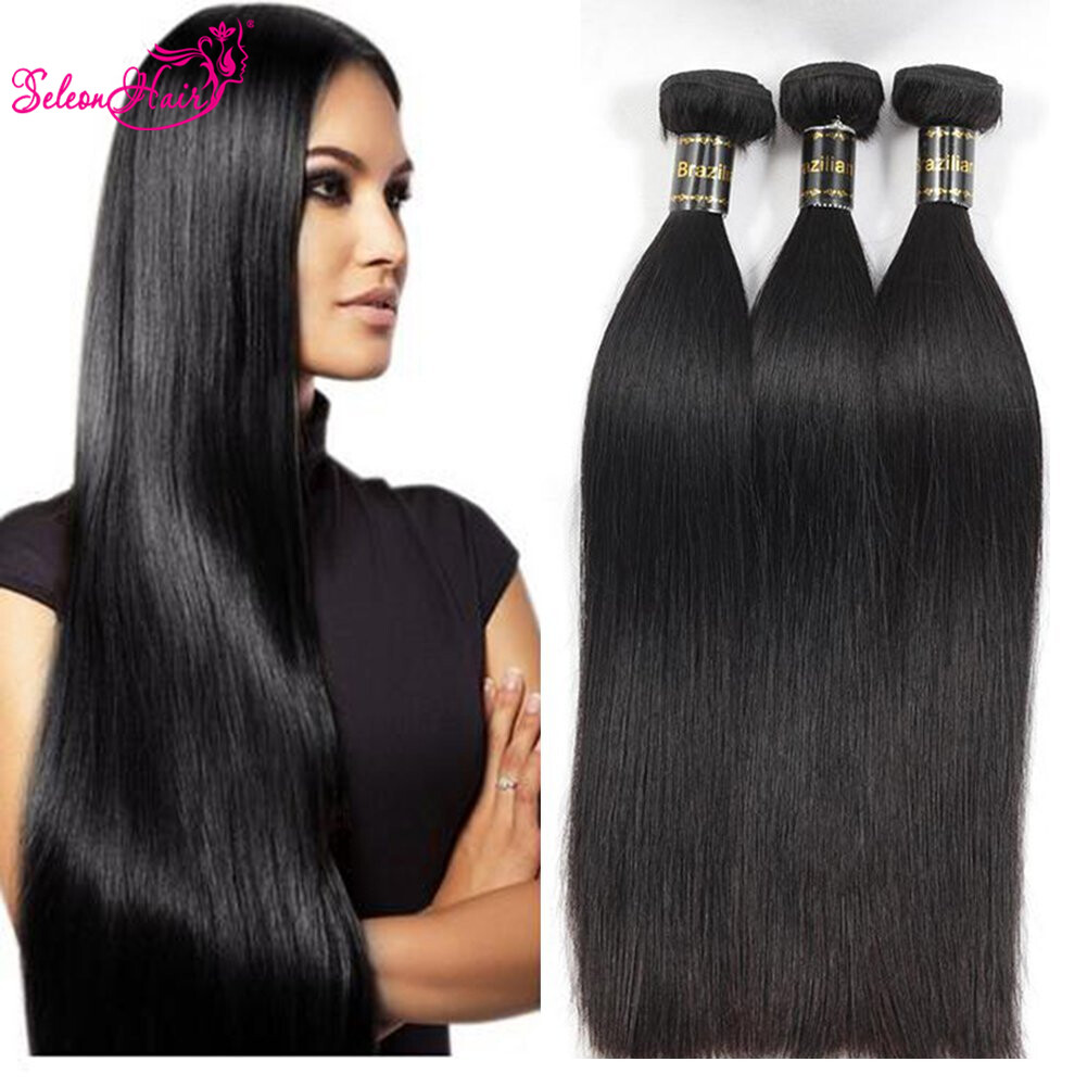 Seleonhair Unprocessed Brazilian Straight Human Hair Weave 3 Bundles