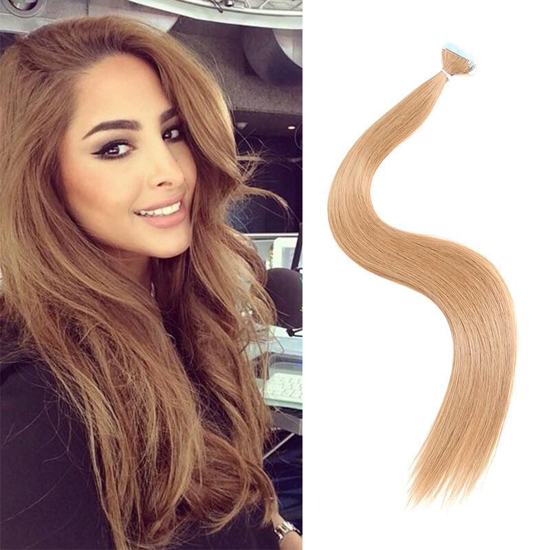 Seleonhair 20pc 50g Light Brown 12 Tape In Hair Extensions Human Hair