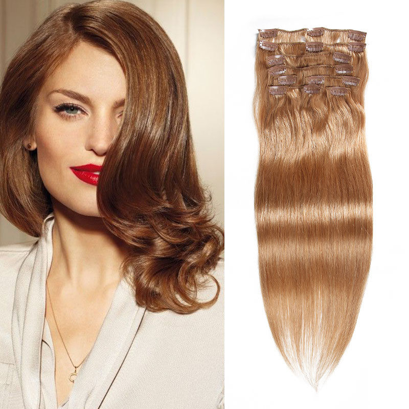 Seleonhair Straight Clip In Hair Brown 12 Remy Human Hair Extensions