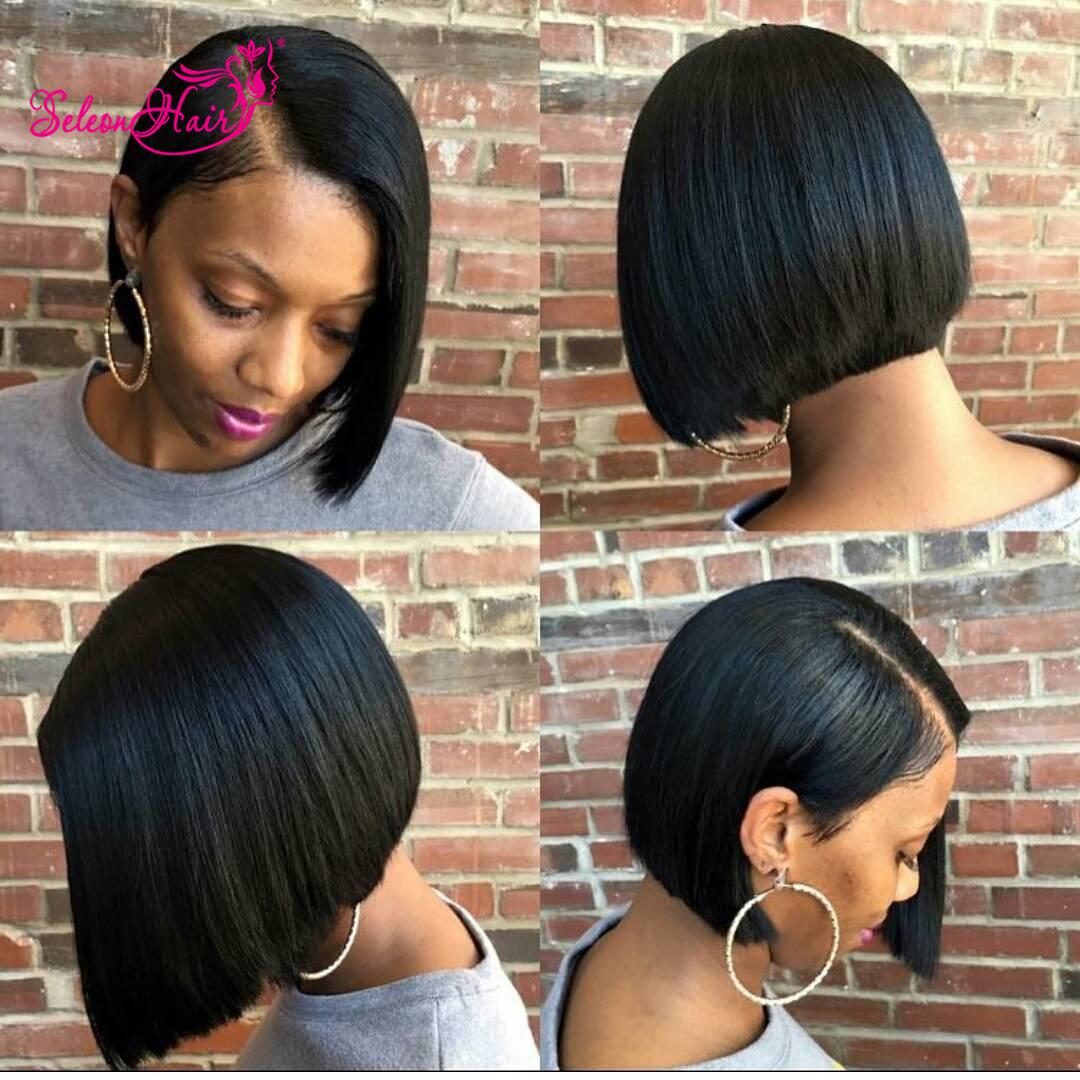 Seleonhair 9A 8-12   Brazilian Straight Bob Virgin Hair Front Lace Wig 1b2a35a0a