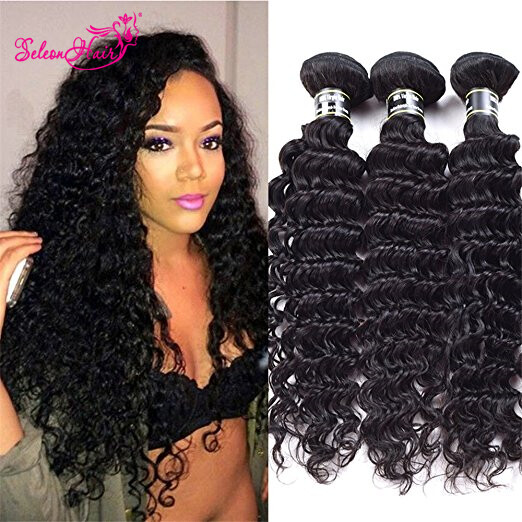 Seleonhair Deep Wave Brazilian 100 Human Virgin Hair 3 Bundles