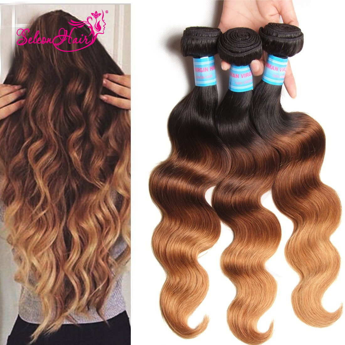 Seleonhair Malaysian Ombre Hair Extensions Human Hair Weaves 1b427