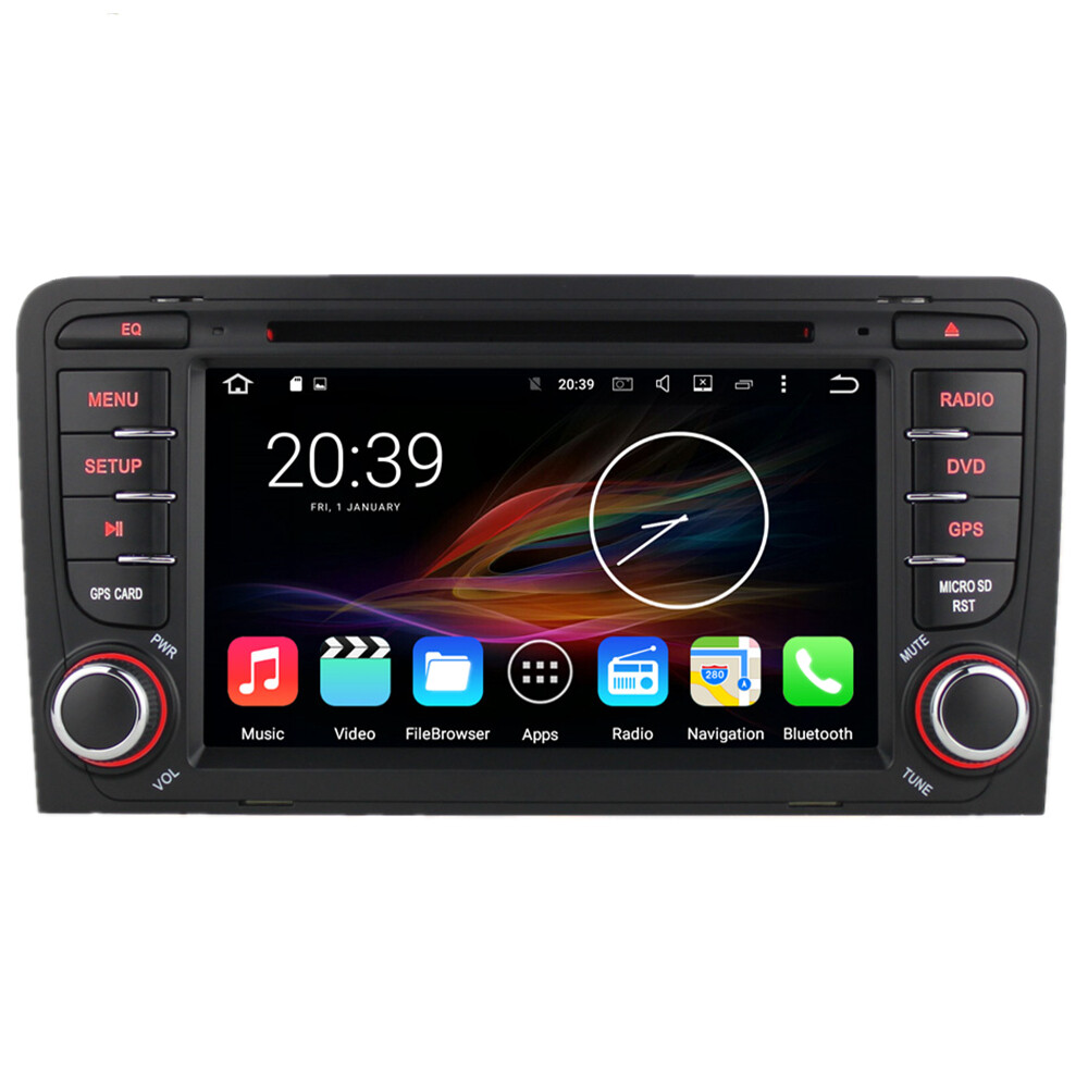 7 android autoradio car multimedia stereo gps navigation dvd radio audio head unit audi a3 s3. Black Bedroom Furniture Sets. Home Design Ideas