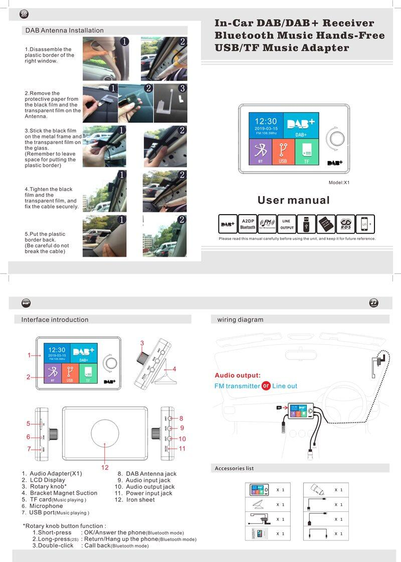 LCD Bluetooth In-Car DAB Radio Receiver Tuner USB Adapter FM Transmitter Antenna