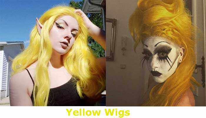 Synthetic yellow lace front wig