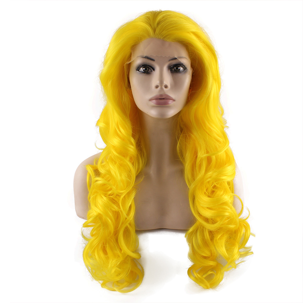 Long Wavy Hand Tied Lace Front Yellow Cosplay Party Wig